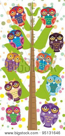 Big Tree With Green Branches And Fun Colored Owls On White Background Children Height Meter Wall Sti