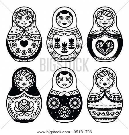 Matryoshka, Russian doll icons set