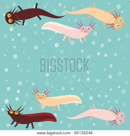 Cute Orange Pink Brown Axolotl Cartoon Character On Blue Background In The Aquarium (mexican Salaman