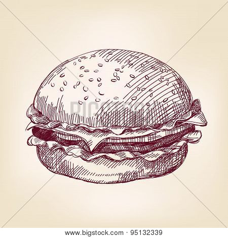 hamburger hand drawn vector llustration realistic sketch