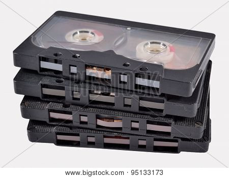 Old Vintage Cassette Tapes On A White