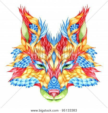 FOX head tattoo. psychedelic watercolor vector illustration