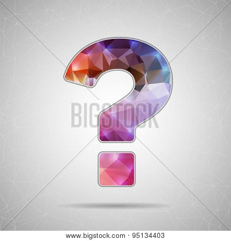 Abstract Creative concept vector icon of question mark for Web and Mobile Applications isolated on b