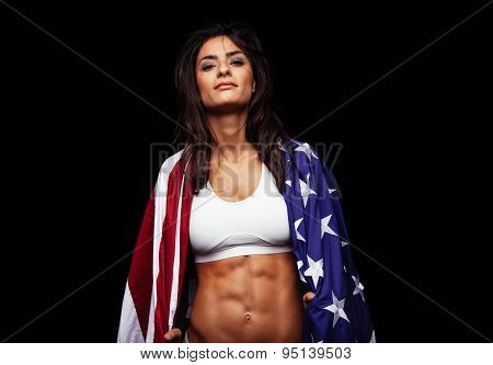 Proud Female Athlete Wrapped In American Flag