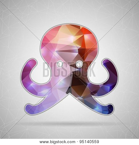 Abstract Creative concept vector icon of octopus for Web and Mobile Applications isolated on backgro