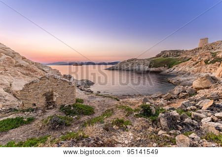 Sunrise And Ferry At Ile Rouse In Corsica
