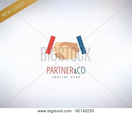 Human hands vector logo icon. Relations, friends, meeting and business symbol. Stock design elements