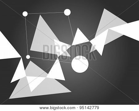 Light Grayscale Abstract Geometric Shape Vector On Dark Gradient Background With Shapes