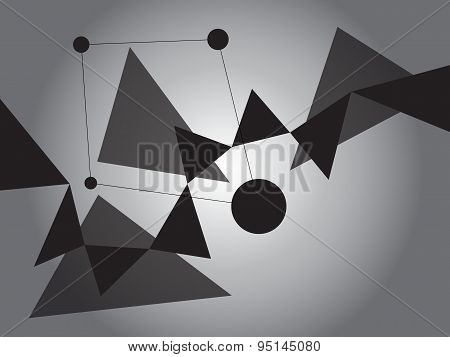 Dark Grayscale Abstract Geometric Shape Vector Background With Spheres And Triangles