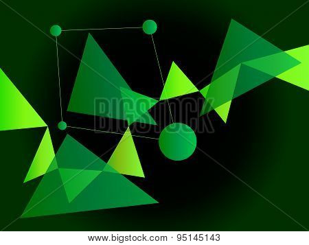Neon Green Abstract Geometric Shape Vector Background With Spheres And Triangles On Gradient