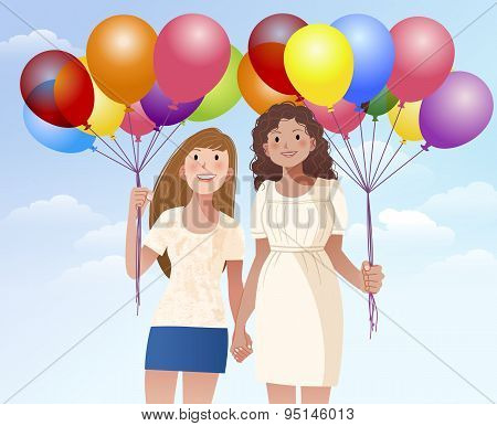 Female Friend Holding Hands And Balloons