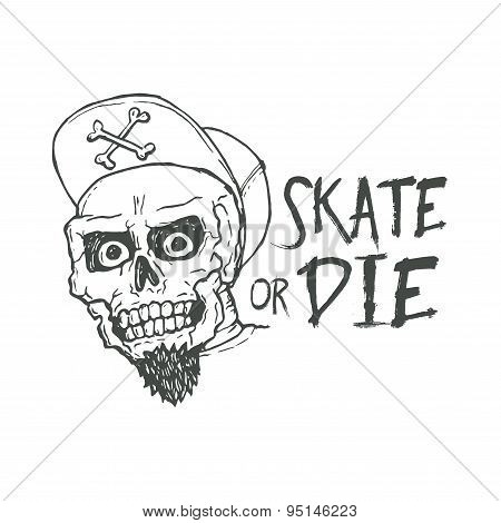 Skate or die lettering tattoo design. Skater scull vintage t-shirt print. Monochrome retro skateboar