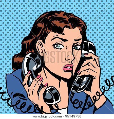 Wednesday girl on two phones running bond Secretary office Manag