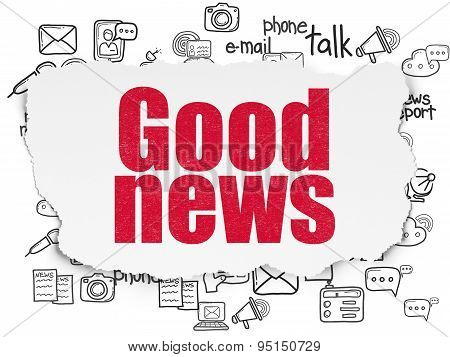 News concept: Good News on Torn Paper background