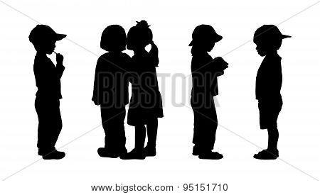 Children Standing Silhouettes Set 5