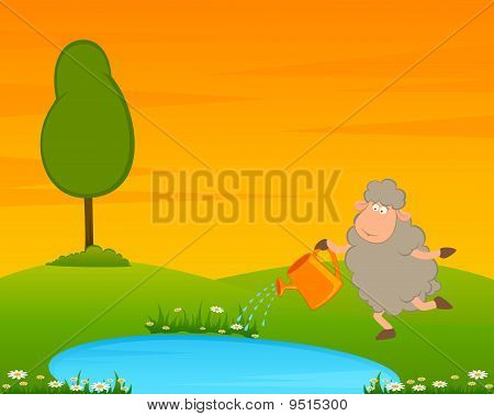 Cartoon funny sheep on country landscape with tree and lake. poster