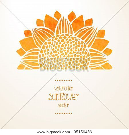 Watercolor Sunflower. Vector Background
