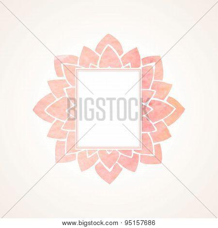 Watercolor Pink Floral Frame. Vector Illustration