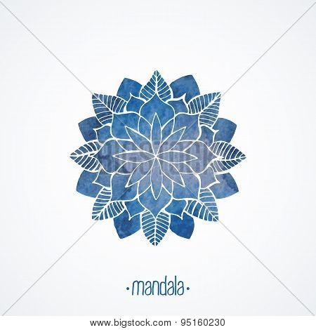Watercolor Blue Lace Pattern. Vector Element. Mandala