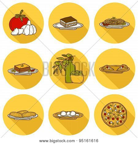 Set of cute cartoon icons in hand drawn style with shadows on italian food theme: pizza, pasta, toma