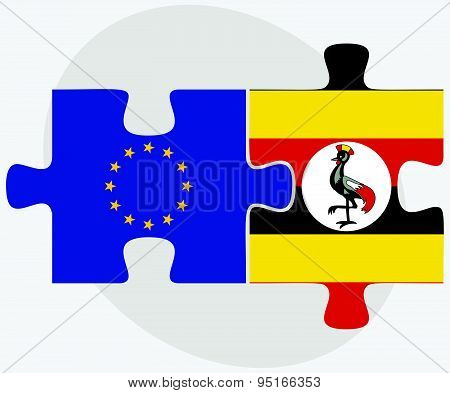 European Union and Uganda Flags in puzzle isolated on white background. poster