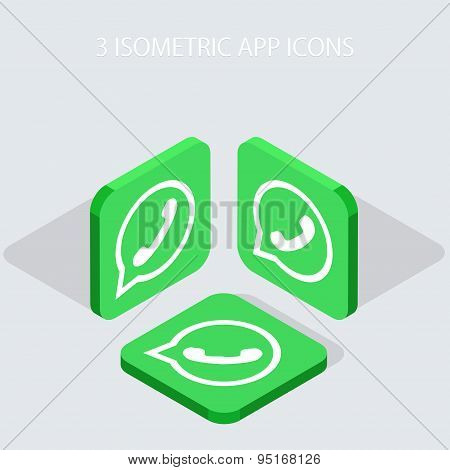 Vector modern 3 isometric telephone app icons with shadowson gray background poster