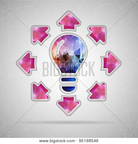 Abstract Creative concept vector icon of bulb with arrows for Web and Mobile Applications isolated o
