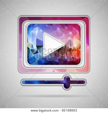 Abstract Creative concept vector icon of video player for Web and Mobile Applications isolated on ba