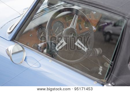 Blue Triumph Spitfire 1500 Car Interior
