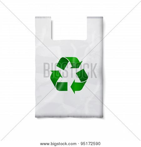 Blank plastic bag with green recycling sign, isolated on white for your design and branding. Vector