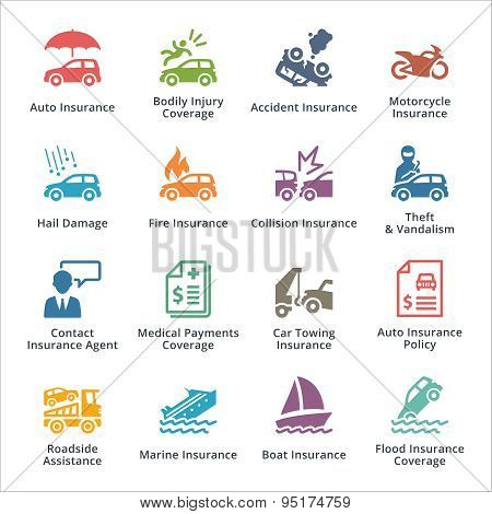 Auto Insurance Icons- Blue Series