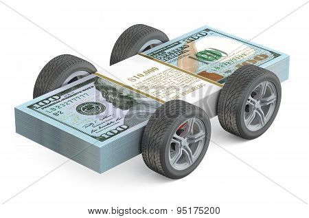 Dollar Bills On Wheels Isolated On White Background