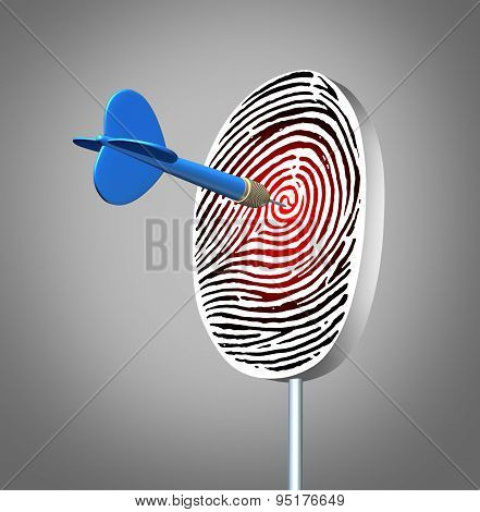 Personal identification concept as an ID fingerprint or finger print dart board with a dart hitting the bulls eye as a security data technology symbol for finding private information or verifying authorization. poster