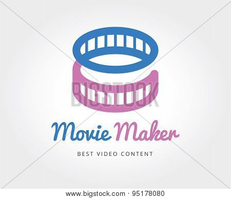 Abstract cinema film vector logo template for branding and design