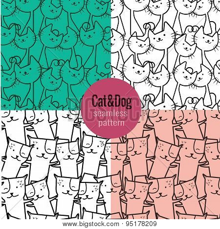 Cat Seamless Pattern, Dog Seamless Pattern. Pattern Swatches Included For Illustrator User, Pattern