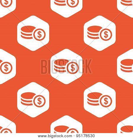 Orange hexagon dollar rouleau pattern