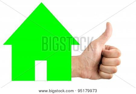 Close up studio shot of a positive hand anh house isolated on white in concept approval for a mortgage poster