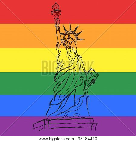 Statue of liberty in sketch style on gay flag background, vector