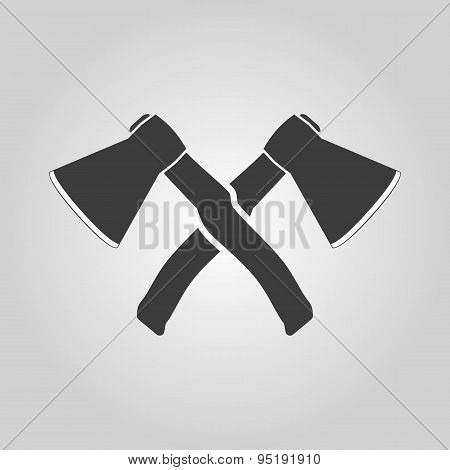 The crossed axes icon. Axe and hack symbol. Flat Vector illustration poster