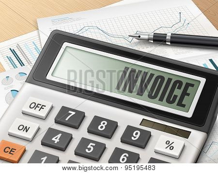 Calculator With The Word Invoice