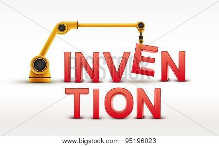 Industrial Robotic Arm Building Invention Word