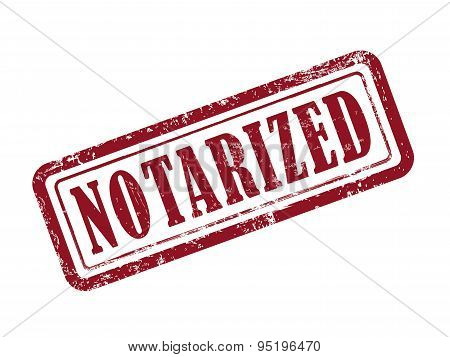 Stamp Notarized In Red Text On White