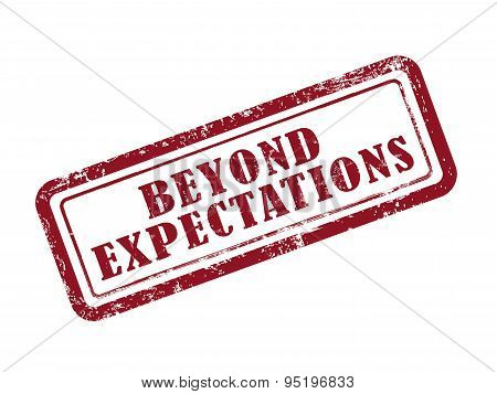 stamp beyond expectations in red over white background poster