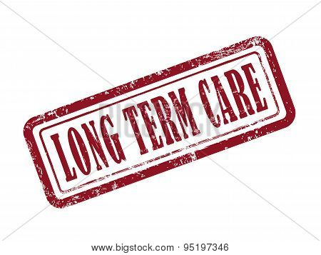 Stamp Long Term Care In Red