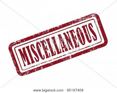 stamp miscellaneous in red over white background poster