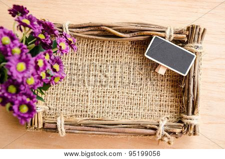 Sack Photo Frame, Blank Tag And Violet Fower.