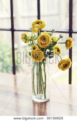 Vase Of Yellow Roses Window Light Background