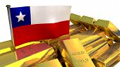Chilean national economy concept with gold bullion on white background poster