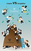 Cartoon competitors and struggling and fighting to gain competitive advantage in narrow market while innovative creators are free to unlimited resource and money and easy to be a successful market leader (vector) poster