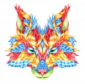 FOX head tattoo. psychedelic watercolor vector illustration poster